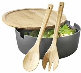 Esmeyer Servierschüssel Brooklyn aus Bambus-Kunststoff-Gemisch mit Deckel und Salatbesteck Salatschüssel, anthrazit, 26 cm - 1