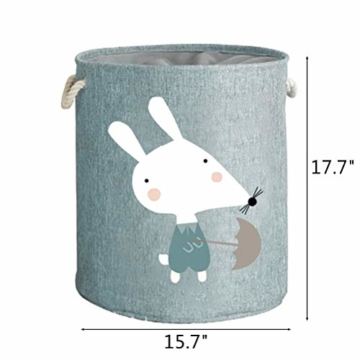 Fieans Kinder Wäschekörbe Aufbewahrungskorb Verdickte Faltbare Lagerung Aufbewahrungsbox Stoff Groß Spielzeugkiste kinderzimmer Organizer mit Kordelzug - Grün Maus - 2
