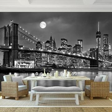 Fototapete New York Vlies Wand Tapete Wohnzimmer Schlafzimmer Büro Flur Dekoration Wandbilder XXL Moderne Wanddeko 100% MADE IN GERMANY -Stadt City NY Runa Tapeten 9101010b - 2