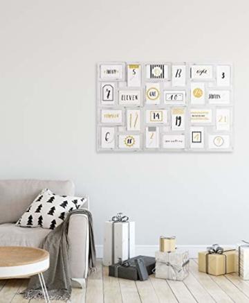 Gallery Solutions Bilderrahmen Collage 24 Fotos à 10x15 cm, Weiß Antik, Außenformat: 88,5x57x2,5 cm - 3