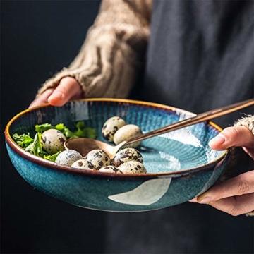 Hoteck Pastateller aus Keramik, Groß Suppenteller Oder Speiseteller, Premium Porzellan 21cm Blau(1PCS) - 3