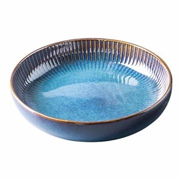 Hoteck Pastateller aus Keramik, Groß Suppenteller Oder Speiseteller, Premium Porzellan 21cm Blau(1PCS) - 1
