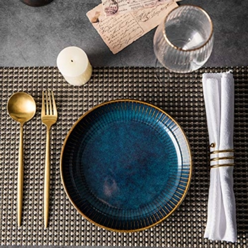 Hoteck Pastateller aus Keramik, Groß Suppenteller Oder Speiseteller, Premium Porzellan 21cm Blau(1PCS) - 6
