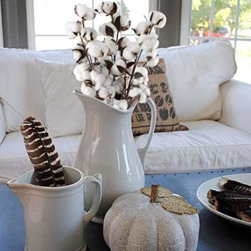 HUAESIN 3pcs Baumwolle Zweig 10 Köpfe Natürlich Getrocknete Blumen Künstliche Dekoblumen Weiss Kunstblumen Gefälschte Unechte Blumen für Vase Hochzeit Zimmer Cafe Dekoration - 2