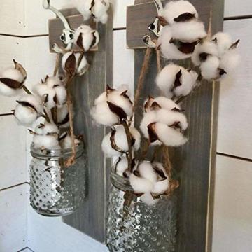 HUAESIN 3pcs Baumwolle Zweig 10 Köpfe Natürlich Getrocknete Blumen Künstliche Dekoblumen Weiss Kunstblumen Gefälschte Unechte Blumen für Vase Hochzeit Zimmer Cafe Dekoration - 3