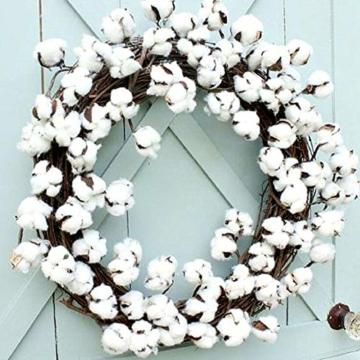 HUAESIN 3pcs Baumwolle Zweig 10 Köpfe Natürlich Getrocknete Blumen Künstliche Dekoblumen Weiss Kunstblumen Gefälschte Unechte Blumen für Vase Hochzeit Zimmer Cafe Dekoration - 5