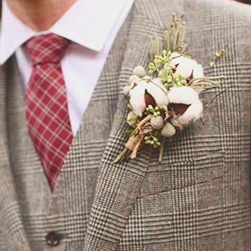 HUAESIN 3pcs Baumwolle Zweig 10 Köpfe Natürlich Getrocknete Blumen Künstliche Dekoblumen Weiss Kunstblumen Gefälschte Unechte Blumen für Vase Hochzeit Zimmer Cafe Dekoration - 6