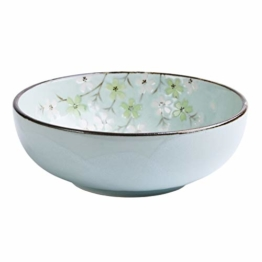 KOIYAKI Japan Porzellan mit grüne Blütenkirsche Schale/Schüssel für Salat, Obst, Nudeln, Ramen, Suppen, Nachtisch Ø 19.5cm H. 7cm(10029) - 1