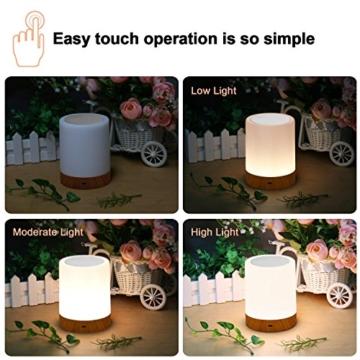 LED Nachttischlampe, Amouhom Dimmbar Atmosphäre Tischlampe für Schlafzimmer Wohnzimmer, 16 Farben Tragbare Nachtlicht mit 2800K-3100K Warmes Weißes Licht und Farbwechsel - 2