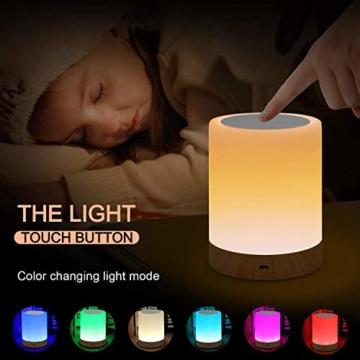 LED Nachttischlampe, Amouhom Dimmbar Atmosphäre Tischlampe für Schlafzimmer Wohnzimmer, 16 Farben Tragbare Nachtlicht mit 2800K-3100K Warmes Weißes Licht und Farbwechsel - 3