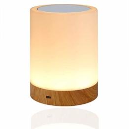 LED Nachttischlampe, Amouhom Dimmbar Atmosphäre Tischlampe für Schlafzimmer Wohnzimmer, 16 Farben Tragbare Nachtlicht mit 2800K-3100K Warmes Weißes Licht und Farbwechsel - 1