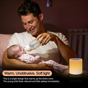 LED Nachttischlampe, Amouhom Dimmbar Atmosphäre Tischlampe für Schlafzimmer Wohnzimmer, 16 Farben Tragbare Nachtlicht mit 2800K-3100K Warmes Weißes Licht und Farbwechsel - 6