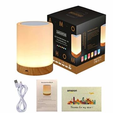 LED Nachttischlampe, Amouhom Dimmbar Atmosphäre Tischlampe für Schlafzimmer Wohnzimmer, 16 Farben Tragbare Nachtlicht mit 2800K-3100K Warmes Weißes Licht und Farbwechsel - 7