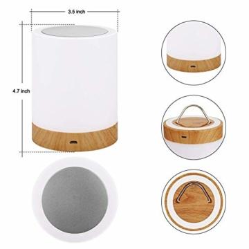 LED Nachttischlampe, Amouhom Dimmbar Atmosphäre Tischlampe für Schlafzimmer Wohnzimmer, 16 Farben Tragbare Nachtlicht mit 2800K-3100K Warmes Weißes Licht und Farbwechsel - 8
