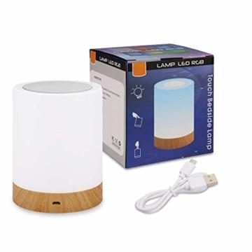 LED Nachttischlampe, Amouhom Dimmbar Atmosphäre Tischlampe für Schlafzimmer Wohnzimmer, 16 Farben Tragbare Nachtlicht mit 2800K-3100K Warmes Weißes Licht und Farbwechsel - 9