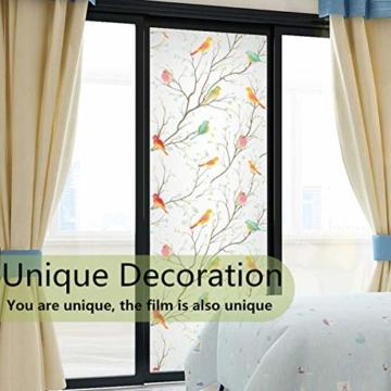 Lifetree Glasmalerei Fensterfolie Sichtschuzfolie Dekofolie Privatsphäre Milchglasfolie Statisch Haftend Vogel Fensteraufkleber 45 * 200 cm - 3