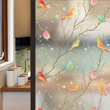 Lifetree Glasmalerei Fensterfolie Sichtschuzfolie Dekofolie Privatsphäre Milchglasfolie Statisch Haftend Vogel Fensteraufkleber 45 * 200 cm - 1