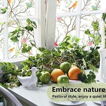 Lifetree Glasmalerei Fensterfolie Sichtschuzfolie Dekofolie Privatsphäre Milchglasfolie Statisch Haftend Vogel Fensteraufkleber 45 * 200 cm - 6