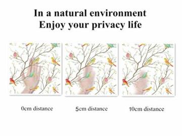 Lifetree Glasmalerei Fensterfolie Sichtschuzfolie Dekofolie Privatsphäre Milchglasfolie Statisch Haftend Vogel Fensteraufkleber 45 * 200 cm - 7