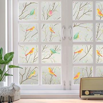 Lifetree Glasmalerei Fensterfolie Sichtschuzfolie Dekofolie Privatsphäre Milchglasfolie Statisch Haftend Vogel Fensteraufkleber 45 * 200 cm - 9