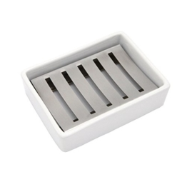 Lofekea Keramik Seifenschale, Edelstahl Seifenhalter für Bad und Dusche, Double Layer Draining Soap Box gehören Silikonmatte - 1