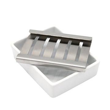 Lofekea Keramik Seifenschale, Edelstahl Seifenhalter für Bad und Dusche, Double Layer Draining Soap Box gehören Silikonmatte - 4