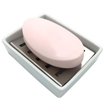 Lofekea Keramik Seifenschale, Edelstahl Seifenhalter für Bad und Dusche, Double Layer Draining Soap Box gehören Silikonmatte - 6