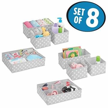 mDesign 8er-Set Aufbewahrungsboxen Stoff – Schubladenboxen mit insgesamt 13 Fächern – Kinderschrank Schubladen Organizer für Kleidung, Kosmetik, Windeln, Tücher, Lotion etc. – grau/weiß - 2