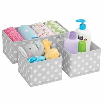 mDesign 8er-Set Aufbewahrungsboxen Stoff – Schubladenboxen mit insgesamt 13 Fächern – Kinderschrank Schubladen Organizer für Kleidung, Kosmetik, Windeln, Tücher, Lotion etc. – grau/weiß - 5