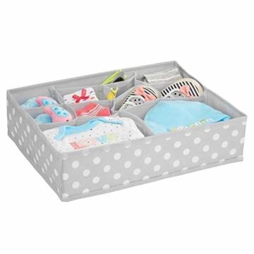 mDesign 8er-Set Aufbewahrungsboxen Stoff – Schubladenboxen mit insgesamt 13 Fächern – Kinderschrank Schubladen Organizer für Kleidung, Kosmetik, Windeln, Tücher, Lotion etc. – grau/weiß - 6