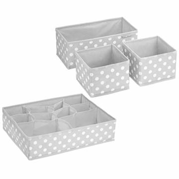 mDesign 8er-Set Aufbewahrungsboxen Stoff – Schubladenboxen mit insgesamt 13 Fächern – Kinderschrank Schubladen Organizer für Kleidung, Kosmetik, Windeln, Tücher, Lotion etc. – grau/weiß - 7