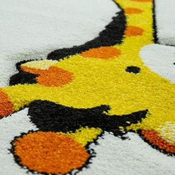 Paco Home Kinderteppich Kinderzimmer Dschungel Tiere Giraffe Löwe AFFE Zebra Beige Creme, Grösse:80x150 cm - 3