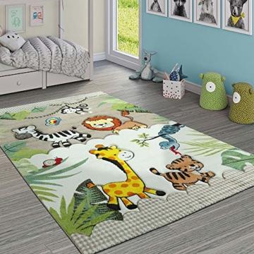Paco Home Kinderteppich Kinderzimmer Dschungel Tiere Giraffe Löwe AFFE Zebra Beige Creme, Grösse:80x150 cm - 1