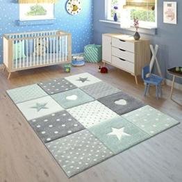 Paco Home Kinderteppich Kinderzimmer Punkte Herzen Sterne Pastell versch. Farben u. Größen, Grösse:160x230 cm, Farbe:Grün - 1