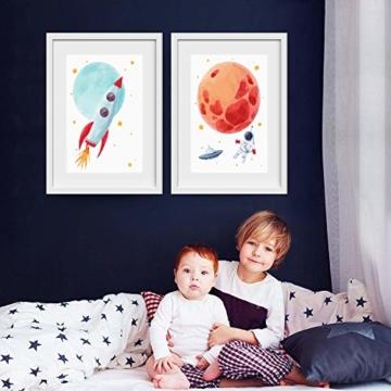 Pandawal Wandbilder Kinderzimmer/Babyzimmer Bilder für Junge und Mädchen Astronaut/Planeten 4er Poster Set Weltraum Deko (P1) im DIN A3 Format… - 3
