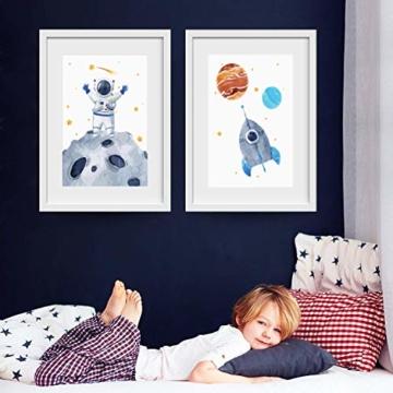 Pandawal Wandbilder Kinderzimmer/Babyzimmer Bilder für Junge und Mädchen Astronaut/Planeten 4er Poster Set Weltraum Deko (P1) im DIN A3 Format… - 4
