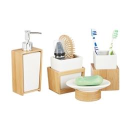 Relaxdays Badezimmer Set, 4-teiliges Badzubehör aus Keramik und Bambus, Seifenspender und Zahnputzbecher, natur-weiß - 1