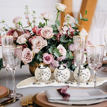 Relaxdays, beige-weiß Teelichthalter Set, Blattschale, Deko Sand, Kieselsteine, Kerzenhalter, stimmungsvolle Tischdeko, Standard - 3