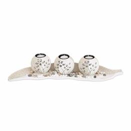 Relaxdays, beige-weiß Teelichthalter Set, Blattschale, Deko Sand, Kieselsteine, Kerzenhalter, stimmungsvolle Tischdeko, Standard - 1