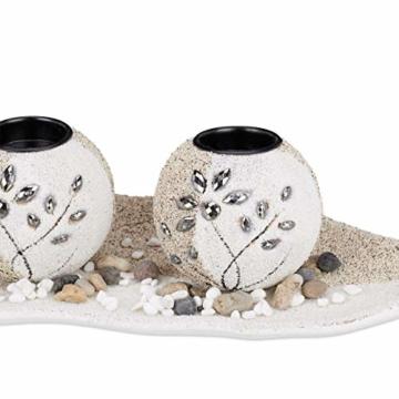 Relaxdays, beige-weiß Teelichthalter Set, Blattschale, Deko Sand, Kieselsteine, Kerzenhalter, stimmungsvolle Tischdeko, Standard - 7