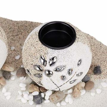 Relaxdays, beige-weiß Teelichthalter Set, Blattschale, Deko Sand, Kieselsteine, Kerzenhalter, stimmungsvolle Tischdeko, Standard - 8