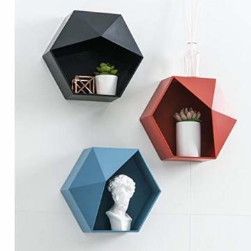 Ruijanjy Nordic Wohnzimmer Geometric Badezimmer Regal Wohnzimmer-Dekoration Hexagon Storage Rack-rote Wand- - 2