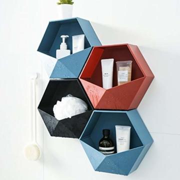Ruijanjy Nordic Wohnzimmer Geometric Badezimmer Regal Wohnzimmer-Dekoration Hexagon Storage Rack-rote Wand- - 3