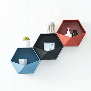 Ruijanjy Nordic Wohnzimmer Geometric Badezimmer Regal Wohnzimmer-Dekoration Hexagon Storage Rack-rote Wand- - 4