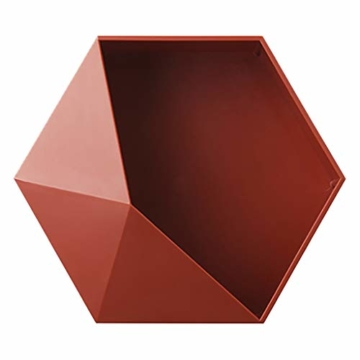 Ruijanjy Nordic Wohnzimmer Geometric Badezimmer Regal Wohnzimmer-Dekoration Hexagon Storage Rack-rote Wand- - 1