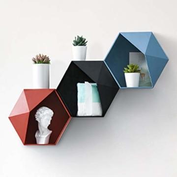 Ruijanjy Nordic Wohnzimmer Geometric Badezimmer Regal Wohnzimmer-Dekoration Hexagon Storage Rack-rote Wand- - 6