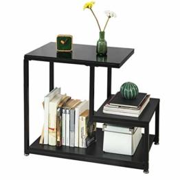 SoBuy® FBT65-SCH Beistelltisch mit Glasplatte Sofatisch Glastisch Couchtisch mit 3 Ablagen schwarz, BHT ca.: 65x55x35cm - 1