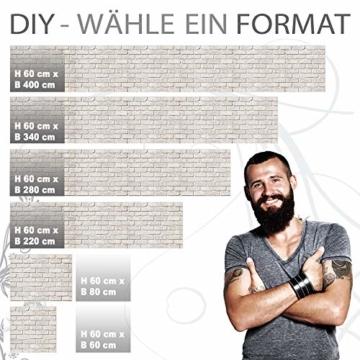 StickerProfis Küchenrückwand selbstklebend - GEKALKTE Wand - 1.5mm, Versteift, alle Untergründe, Hart PET Material, Premium 60 x 80cm - 3