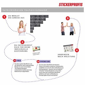 StickerProfis Küchenrückwand selbstklebend - GEKALKTE Wand - 1.5mm, Versteift, alle Untergründe, Hart PET Material, Premium 60 x 80cm - 4