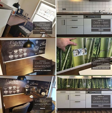 StickerProfis Küchenrückwand selbstklebend - GEKALKTE Wand - 1.5mm, Versteift, alle Untergründe, Hart PET Material, Premium 60 x 80cm - 8